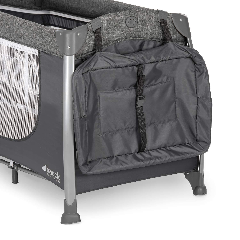 Wickelauflage R/äder grau ab Geburt bis 15 kg faltbar und kippsicher Hauck Play/'n Relax Center Reisebett Netztasche Transporttasche 7-teiliges seitlicher Ausstieg mit Neugeborenen Einhang