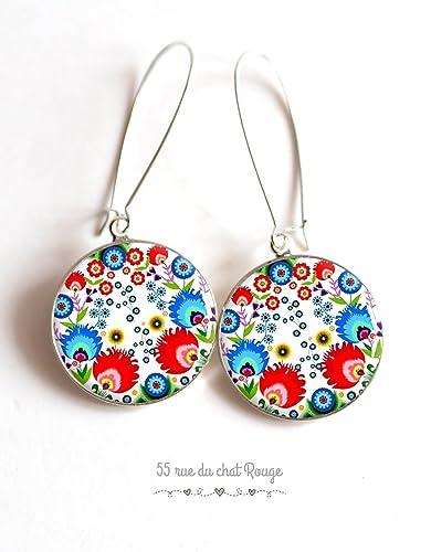 Boucles Folklore Cabochon Fleurs Mexicain Russe Colorées D'oreilles mnw8v0N