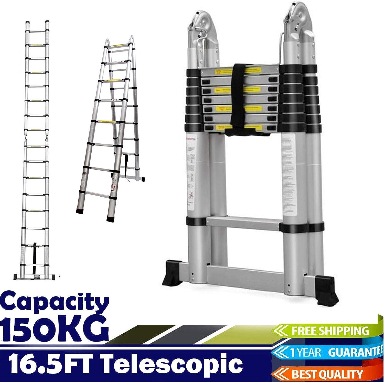 Escalera telescópica de 5 m con marco en A (2,5 m + 2,5 m), flexible, compacta, fácil de almacenar, plegable, de aluminio: Amazon.es: Bricolaje y herramientas