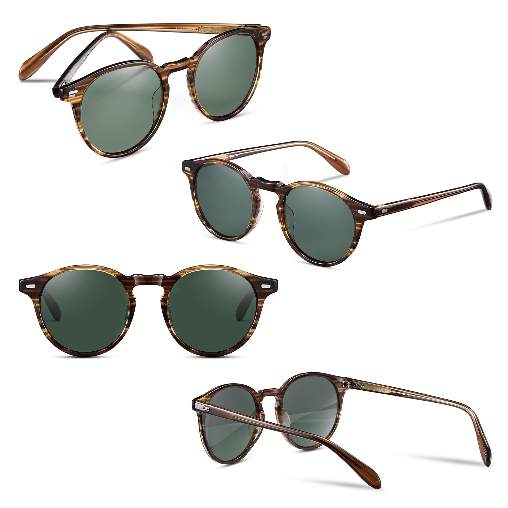 EyeGlow Vintage Round Sunglasses Women Sunglasses Men Polarized Lens 5187 Acetate material (Blonde vs green polarized lens, As pictures) by EyeGlow (Image #2)