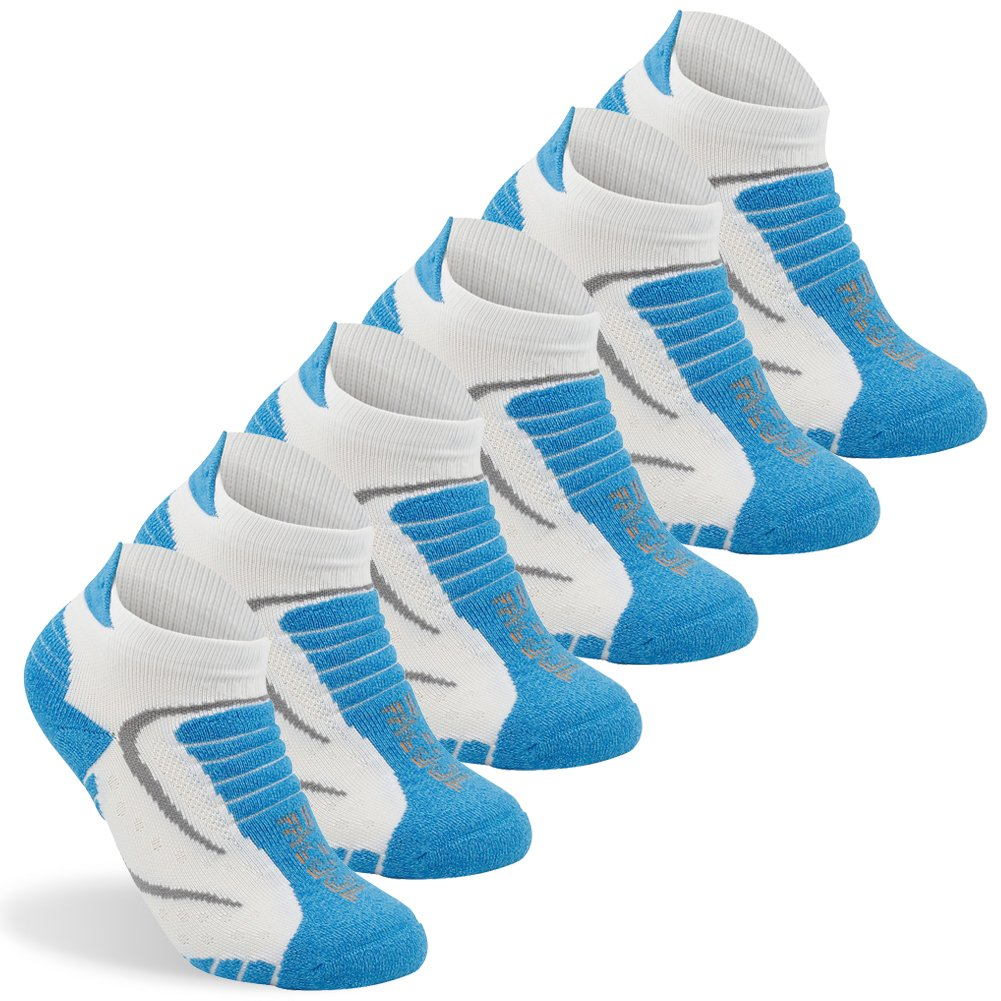 Women's Mini-crew Socks Facool Woman Comfort Seamless Toe Sports Heel Tab Cushioned Atheltic Running Climbing Hiking Socks,One Size,6 Pairs Blue&white by Facool