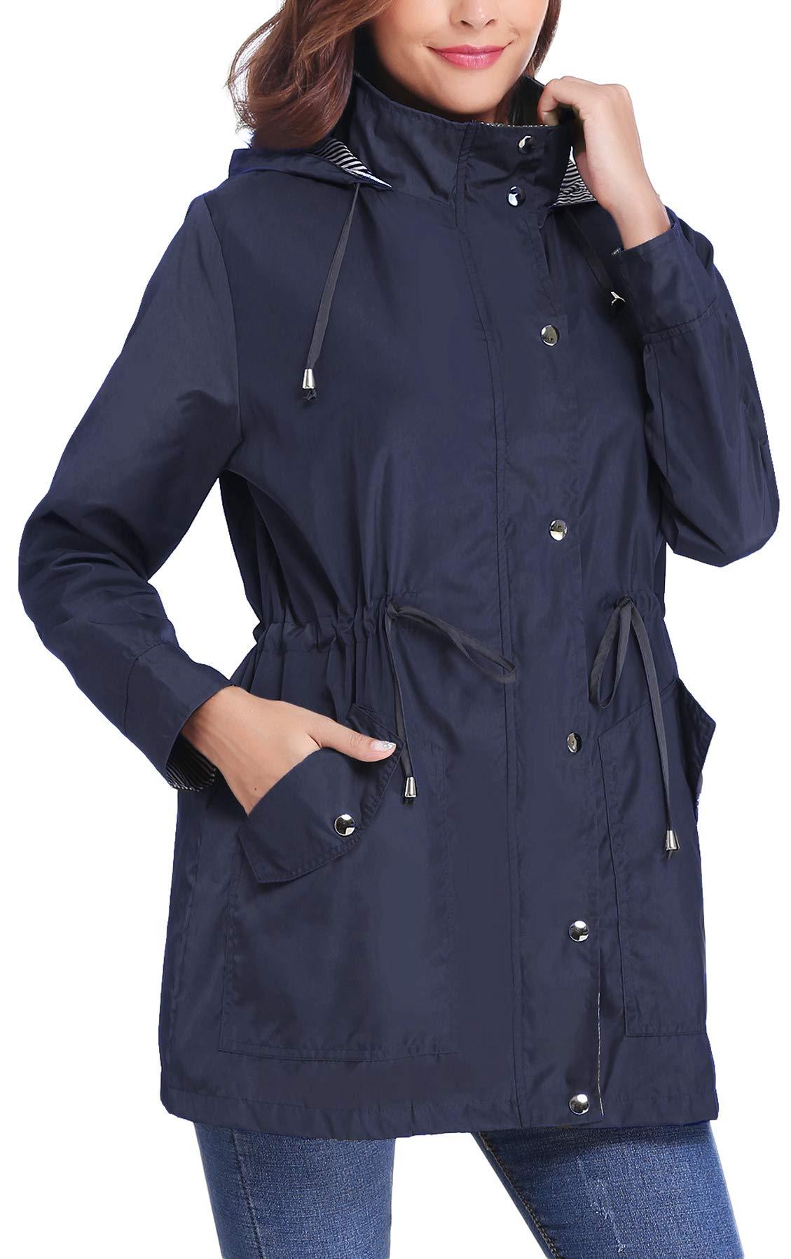 iClosam Women Raincoats Waterproof Lightweight Rain Jacket Active Outdoor Hooded Trench Coat (Navy Blue, Medium)
