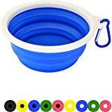 Zenify Dog Bowl - 400ml Collapsible Foldable Food and Water Feeder Dish - Portable Travel Leash Lead Slim Accessories for Training Pets Puppy Dogs (5 inches / 12.7 cm) (Blue/White)
