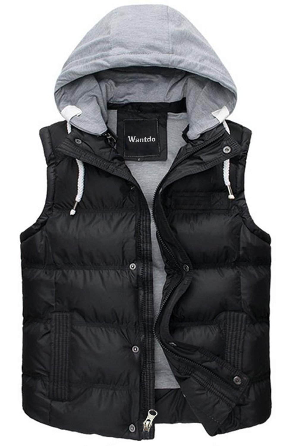 Wantdo Men's Winter Removable Hooded Quilted Vest Outwear Large (Tag size XXL) Black by Wantdo