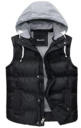 Wantdo Men's Winter Puffer Vest Removable Hooded Quilted Warm ...