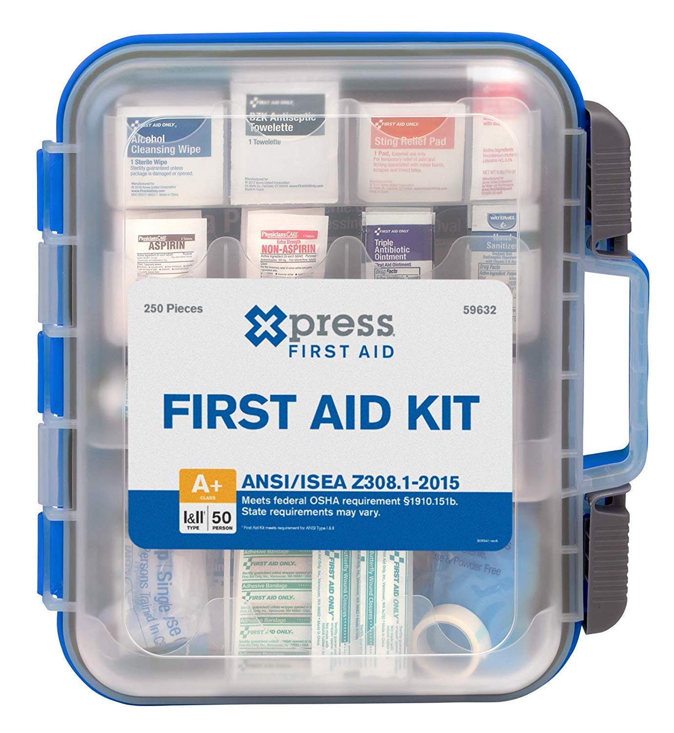 Xpress First Aid 250 Piece First Aid Kit, ANSI/OSHA Compliant by Xpress First Aid