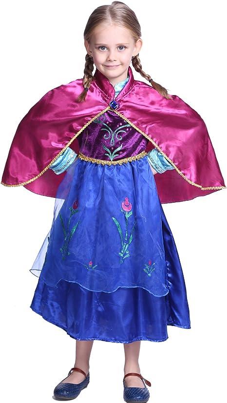 Anladia - Disfraz de Anna Deluxe Frozen para niña Talla S M L 90 ...