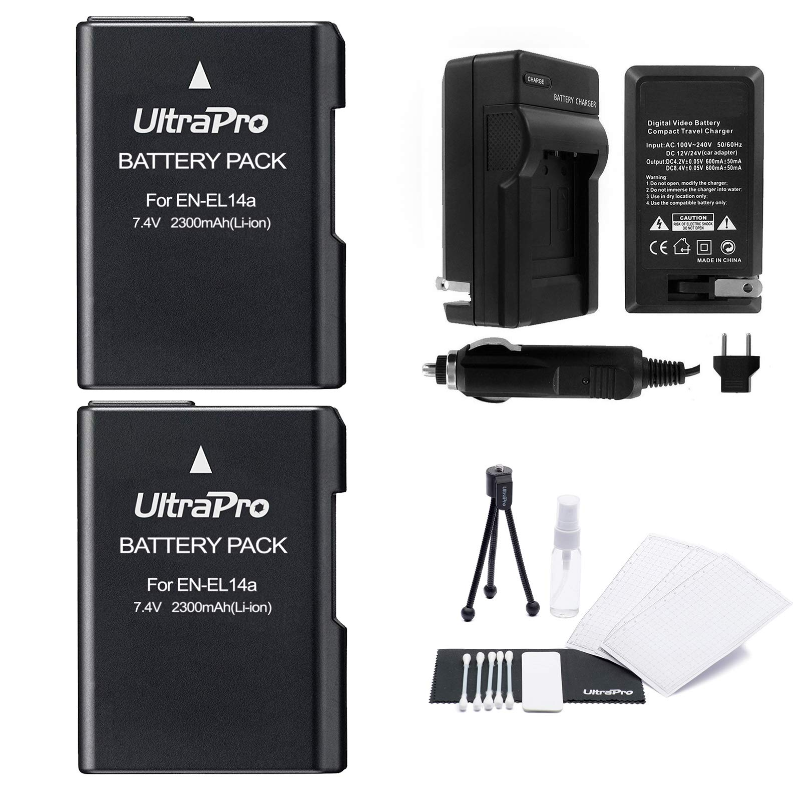 EN-EL14 / EN-EL14a Battery 2-Pack Bundle with Rapid Travel Charger and UltraPro Accessory Kit for Select Nikon Cameras Including D3100, D3200, D3300, D3400, D3500, D5500, D5300, D5200, and D5100