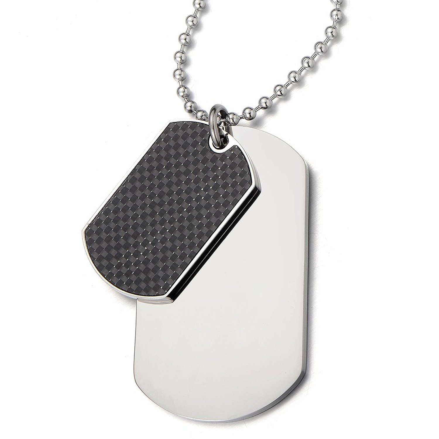 Steel Two-pieces Mens Dog Tag Pendant Necklace with Carbon Fiber and 23.6 inches Steel Ball Chain COOLSTEELANDBEYOND MP-346-CA