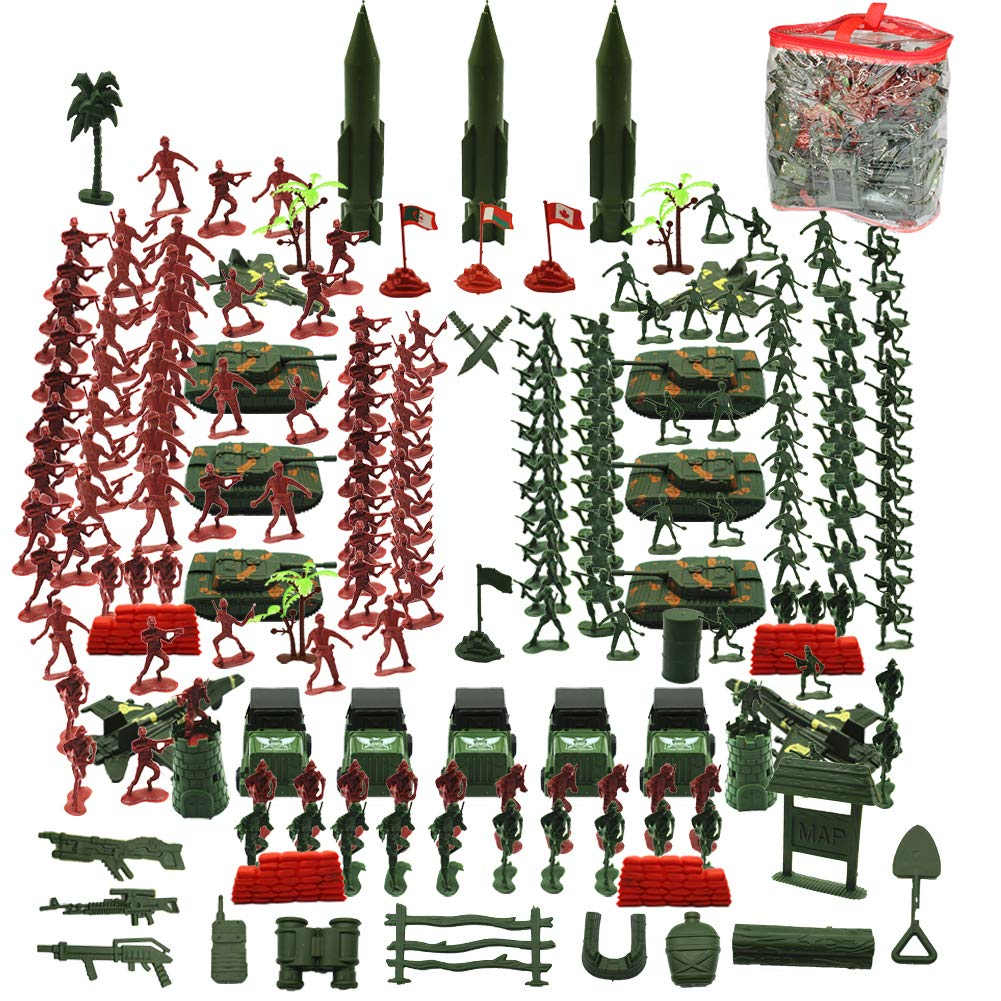 Tanks,Helicopters,Best Army/ Toys/ for/ Boys Girls and Adults AM THREE BEARS Army Men Playset,307 Pcs Army Action Figures Including Toy Soldiers,Sandbags