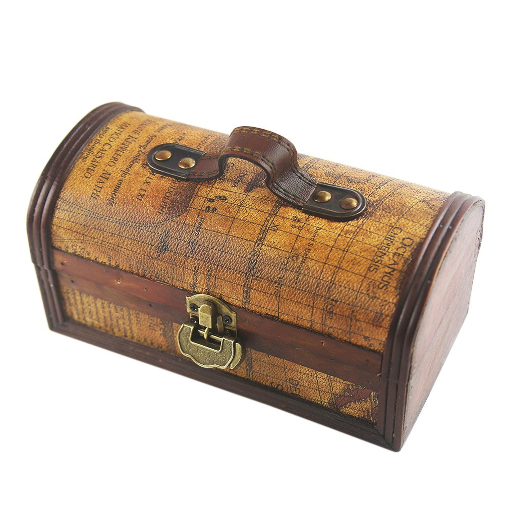 DinQ Printed Exploration Age Map Giant Wooden Classical Treasure Storage Box with Lock (S)