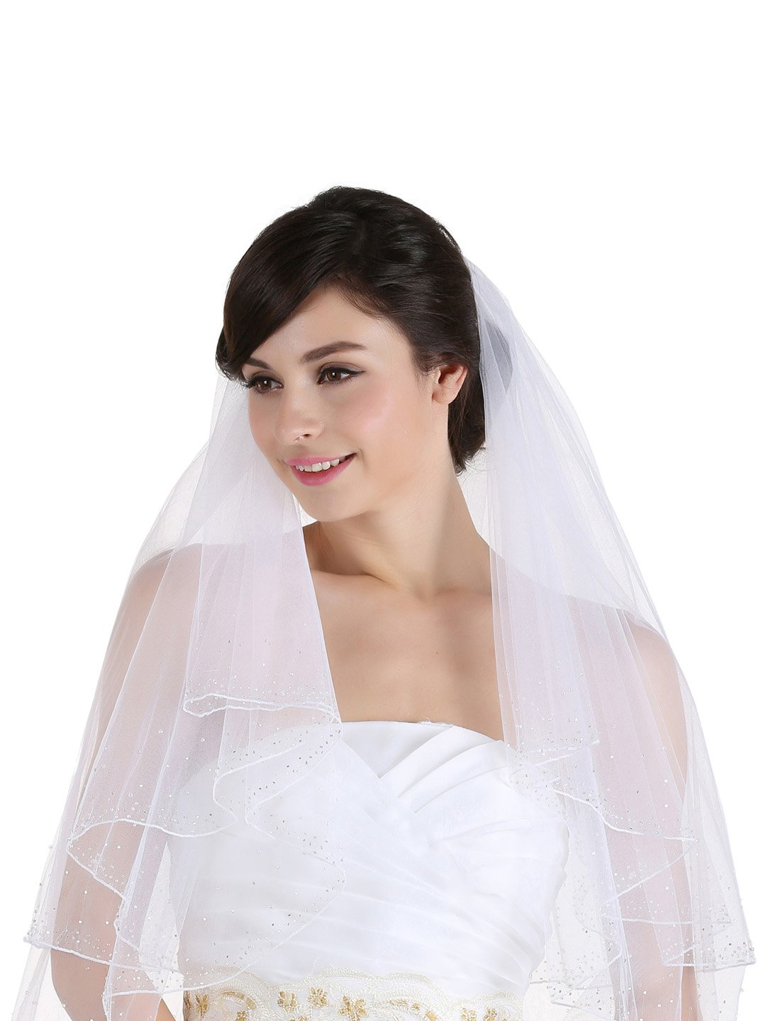 2T 2 Tier 2.5'' Wide Crystal Beaded Edge Bridal Wedding Veil - White Cathedral Length 108''