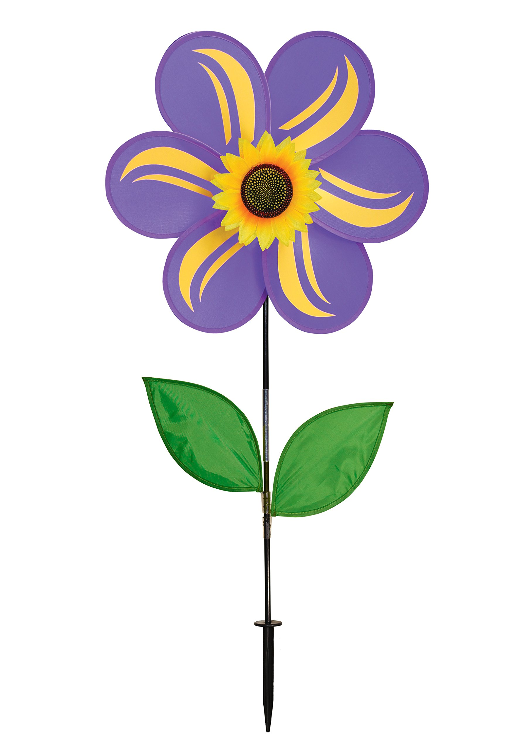 In the Breeze 19 Inch Purple Sunflower Wind Spinner with Leaves - Includes Ground Stake - Colorful Flower for your Yard and Garden