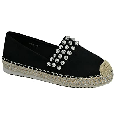 3c6bb75e0f Cucu Fashion New Womens Ladies Slip on Espadrille Flats Diamante Studded  Comfy Shoes Sizes UK: Amazon.co.uk: Shoes & Bags