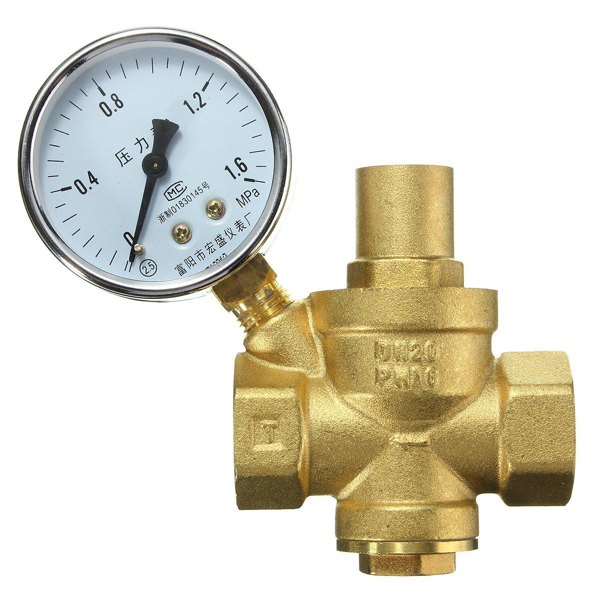 DN20 3/4inch Brass Water Pressure Reducing Valve With Gauge Flow Adjustable