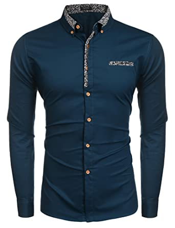 f9d4c7ff Coofandy Mens Dress Shirt Long Sleeve Floral Slim Fit Casual Tops: Amazon.co .uk: Clothing