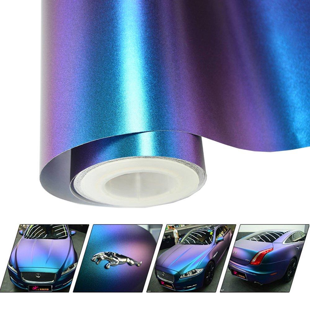 Amazon com vinyl frog chameleon vinyl wrap matte metallic vehicle film purple to blue stretchable air release diy decals 11 8x60 automotive