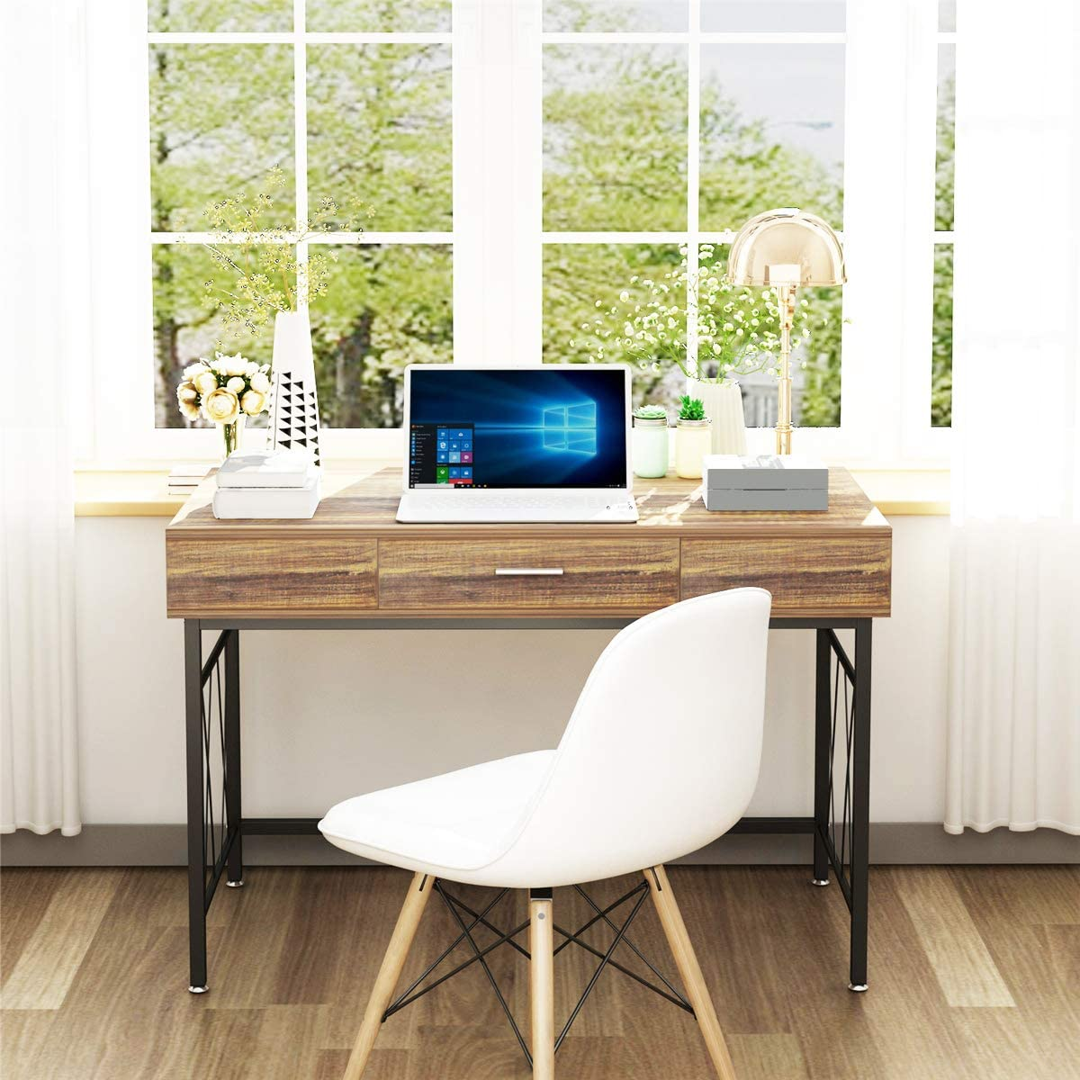 Computer Desk with Drawer 47 Executive Desk Writing Office Desk Workstation Table Space Saver for Home Office Study Room