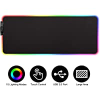 MoKo RGB Gaming Mouse Pad, Large Extended Glowing Led Mousepad with 15 Lighting Modes and USB 2.0 port, Non-Slip Rubber…