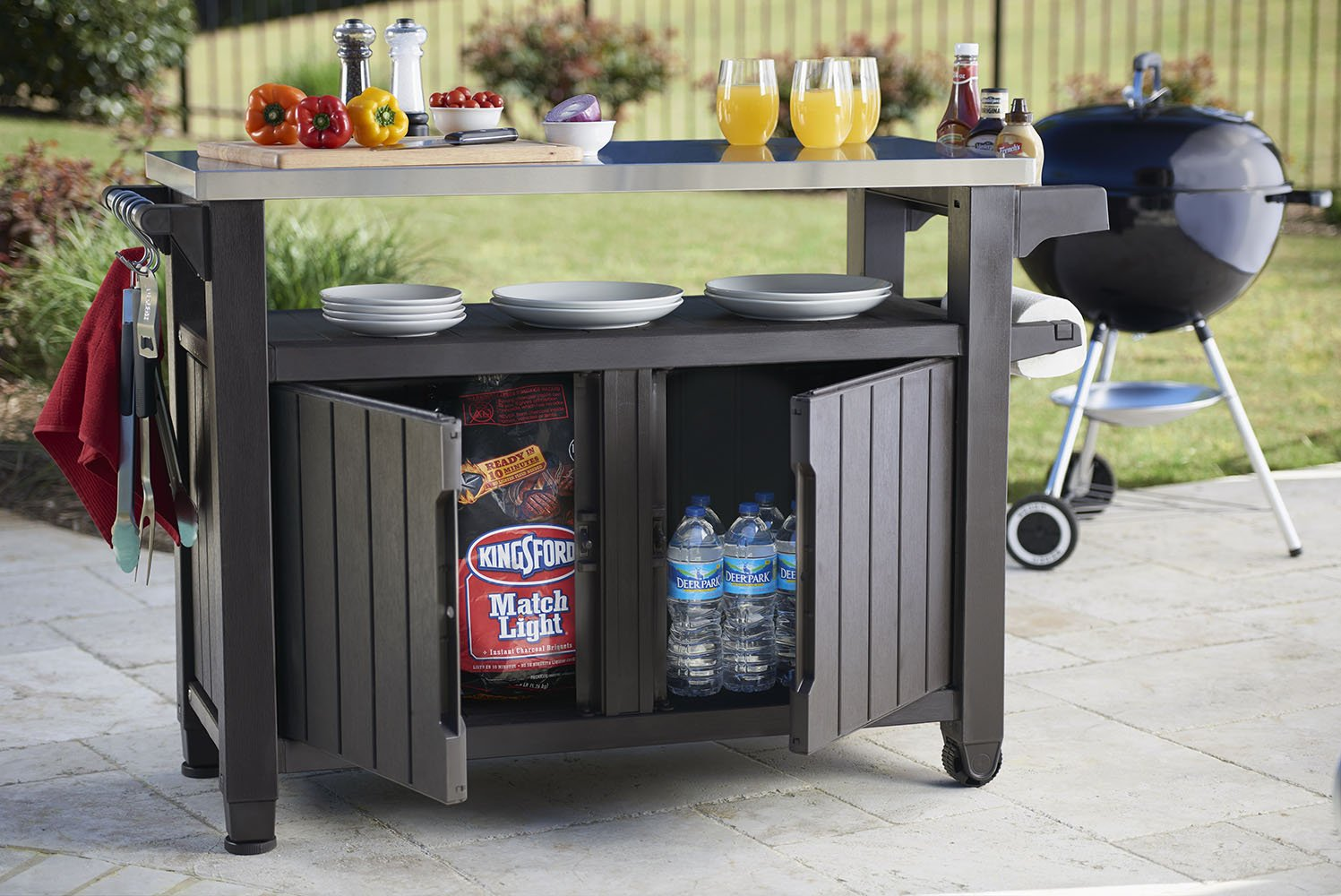 Keter Unity XL Indoor Outdoor Entertainment BBQ Storage Table / Prep Station / Serving Cart with Metal Top by Keter (Image #5)