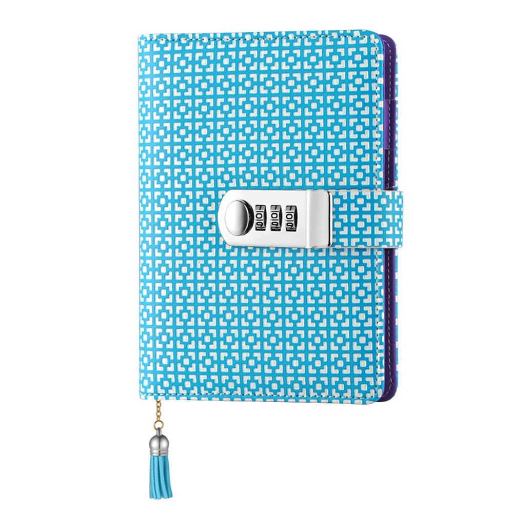 JunShop Lattice Locking Journal Diary Loose Leaf Password Diary A6 PU Leather Journals Note books Secret Diary with Lock Password Lined Combination Lock Journal Diary (Blue)
