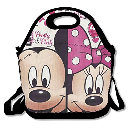 Mickey Mouse and Minnie Mouse with Fan Insulated Lunch Bag Tote Handbag Lunchbox for Student School Cooler Picnic