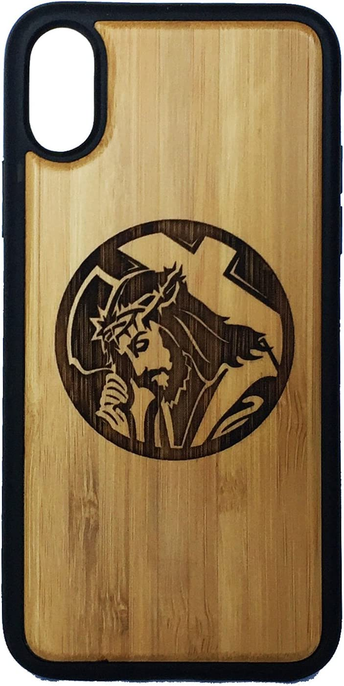 Jesus Christ phone Case Cover for iPhone XS & iPhone X by iMakeTheCase   Eco-Friendly Bamboo Wood Cover + TPU Wrapped Edges   Christian Lord Bearing Cross Crown of Thorns.