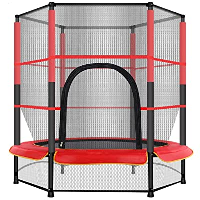 Trampoline with Safety Enclosure Net - 5 Ft Kids Basketball Hoop Trampoline Include Jumping Mat & Spring Cover Padding, 100 Lbs Loading Capacity Great for Indoor & Outdoor (Red): Home & Kitchen