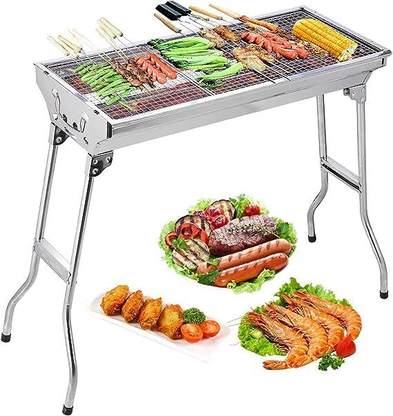 Uten Barbecue Portable Barbecue à Charbon avec BBQ Grille en Acier BBQ Pliable Barbecue Camping Pique Nique Extérieur Jardin