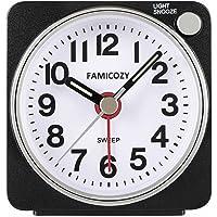 Small Lightweight Travel Alarm Clock,FAMICOZY Quiet Non Ticking Analog Alarm Clock with Snooze and Light,Sound Crescendo…