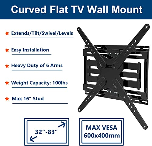 TV Wall Mount with Sliding Design for 32-83 Inch Flat Screen Curved LED TVs, Easy for TV Centering on Wall, Full Motion Dual Swivel Articulating Arms Tilt Extend,Easy to Install on 16 Studs