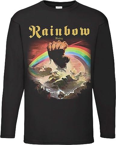 LaMAGLIERIA Camiseta de Manga Larga Hombre Rainbow - Camiseta 100% algodón Rock Band: Amazon.es: Ropa y accesorios
