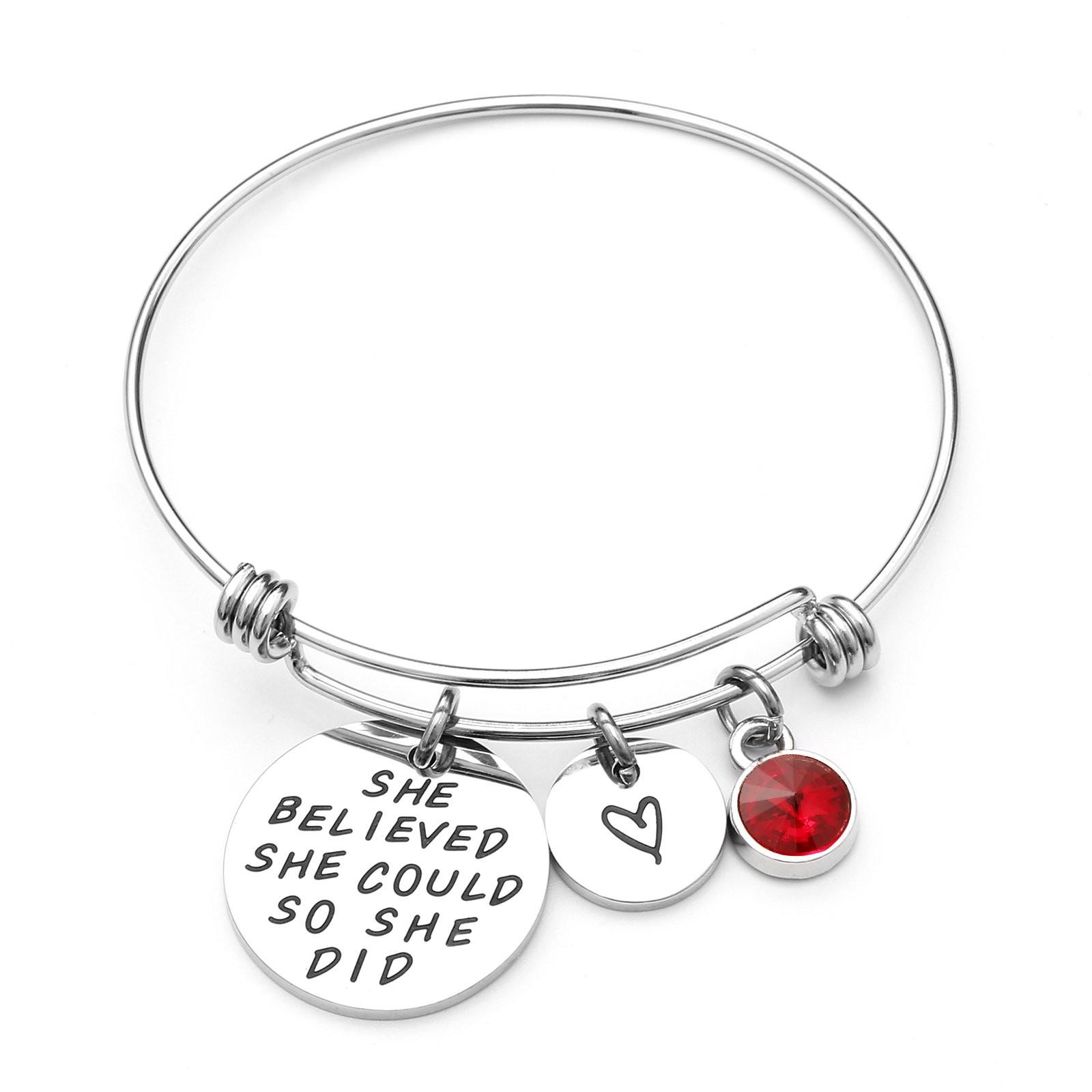 LIUANAN She belived she Could so she did Inspirational Bracelet Expandable Bangle Birthstone Stainless Steel Cuff (Ruby-July) ...