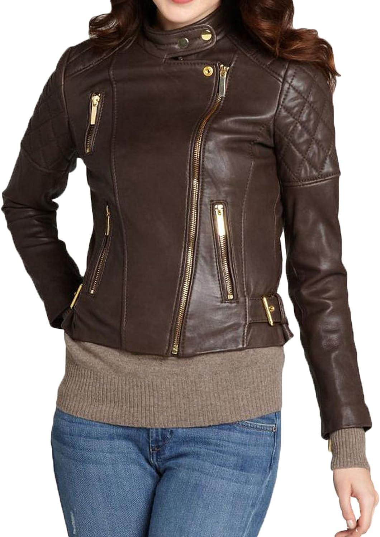 New Women Ladies Biker Brown Genuine Real Leather Slim Fit Jacket