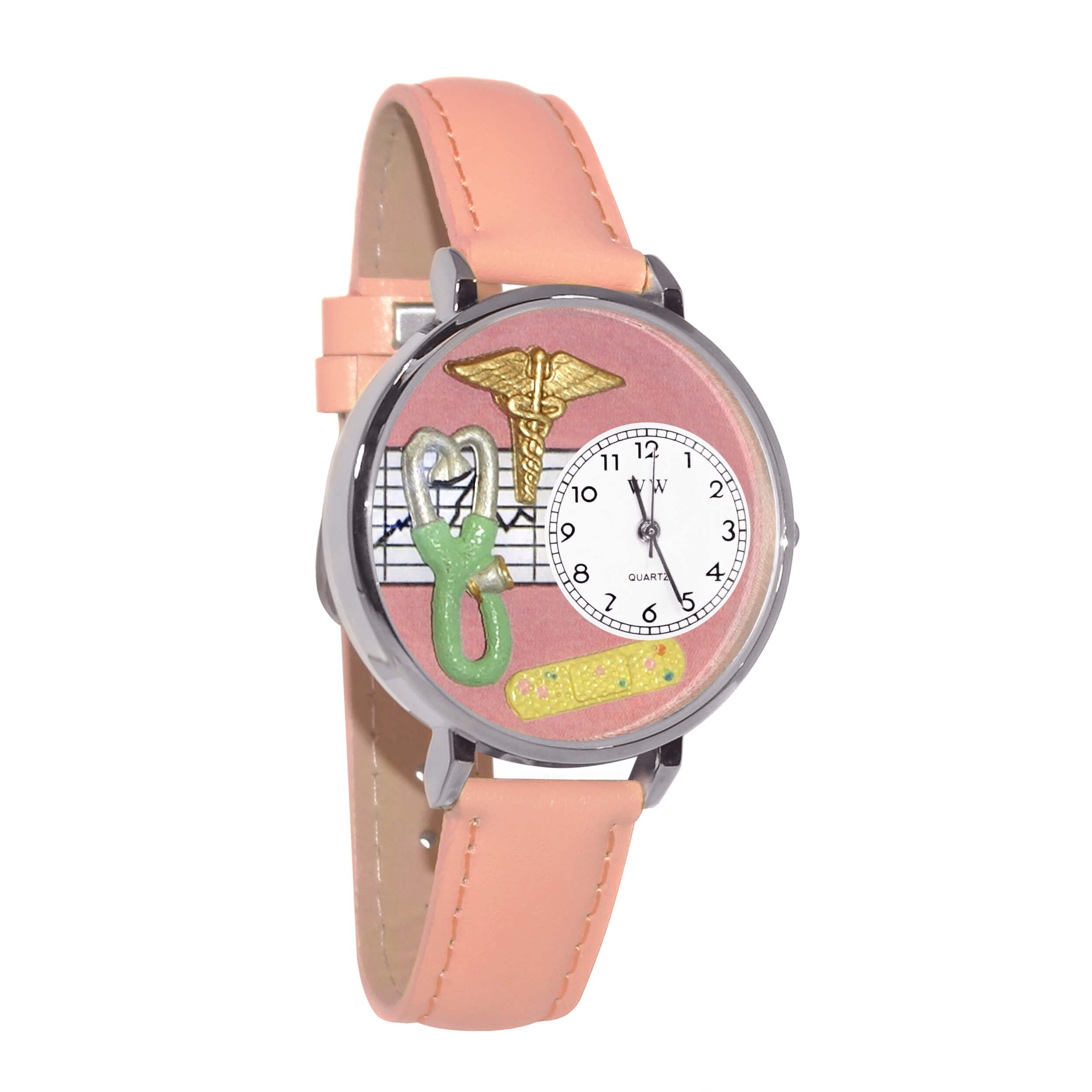 Whimsical Watches Women's U0620031 Unisex Silver Nurse 2 Pink Leather And Silvertone Watch