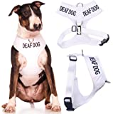 DEAF DOG (Dog Has Limited/No Hearing) White Color Coded Non-Pull Front and Back D Ring Padded and Waterproof Vest Dog Harness PREVENTS Accidents By Warning Others Of Your Dog In Advance