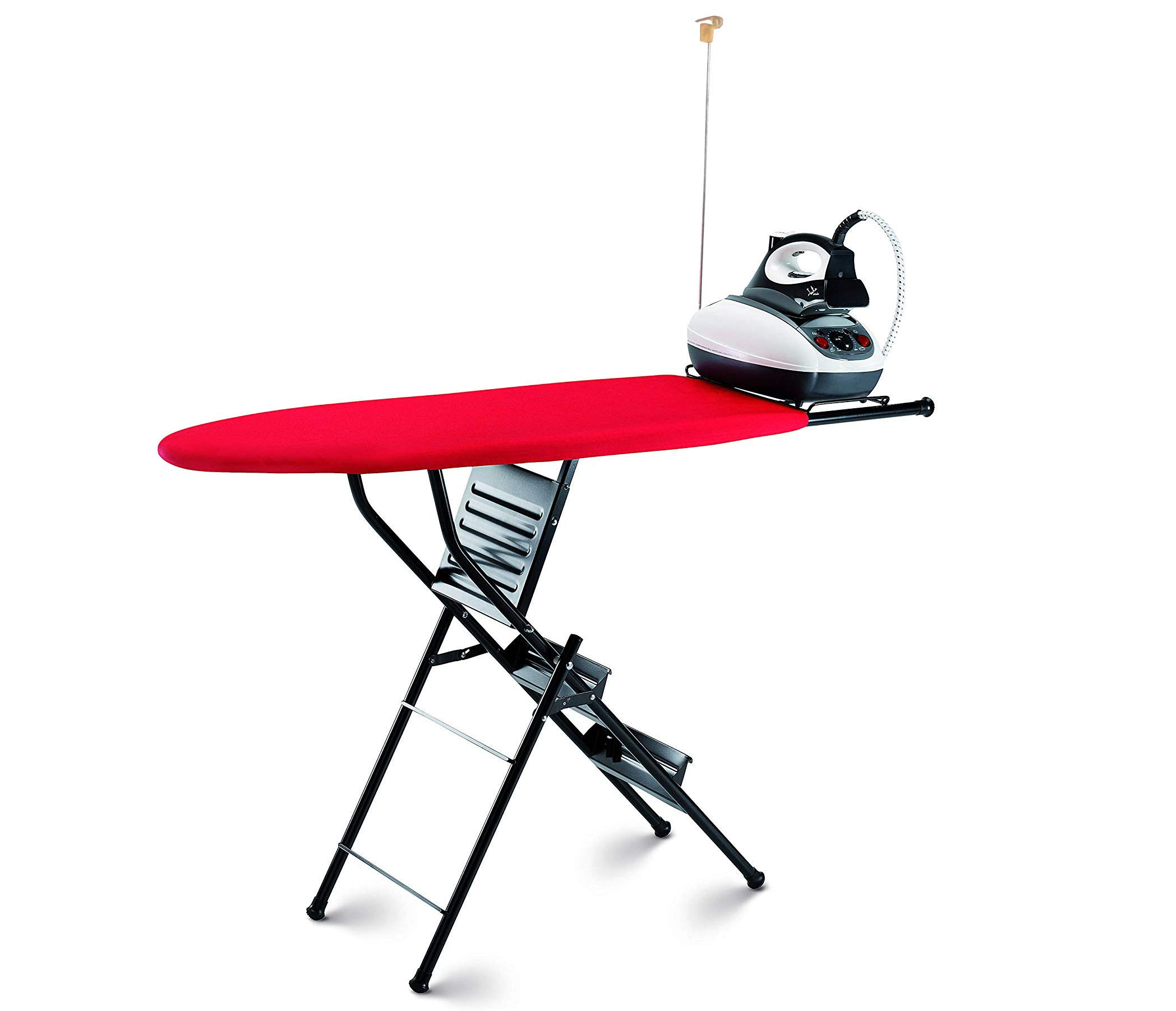 Xabitat Ironing Board Ladder - 2 in 1 - Space Saving Iron Table with 3 Step Ladder Combo - Black and red