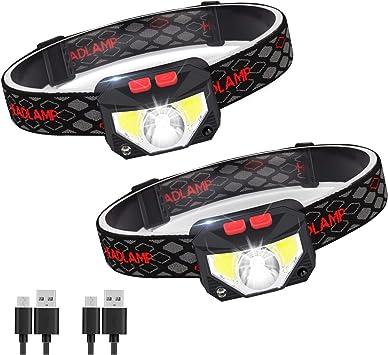 Linterna Frontal LED USB Recargable, ZOYJITU 2Pcs Linterna de cabeza led recargable, 8 Modos de uso (Luz Blanca/Luz Roja/Sensor). Linterna Frontal Led ...