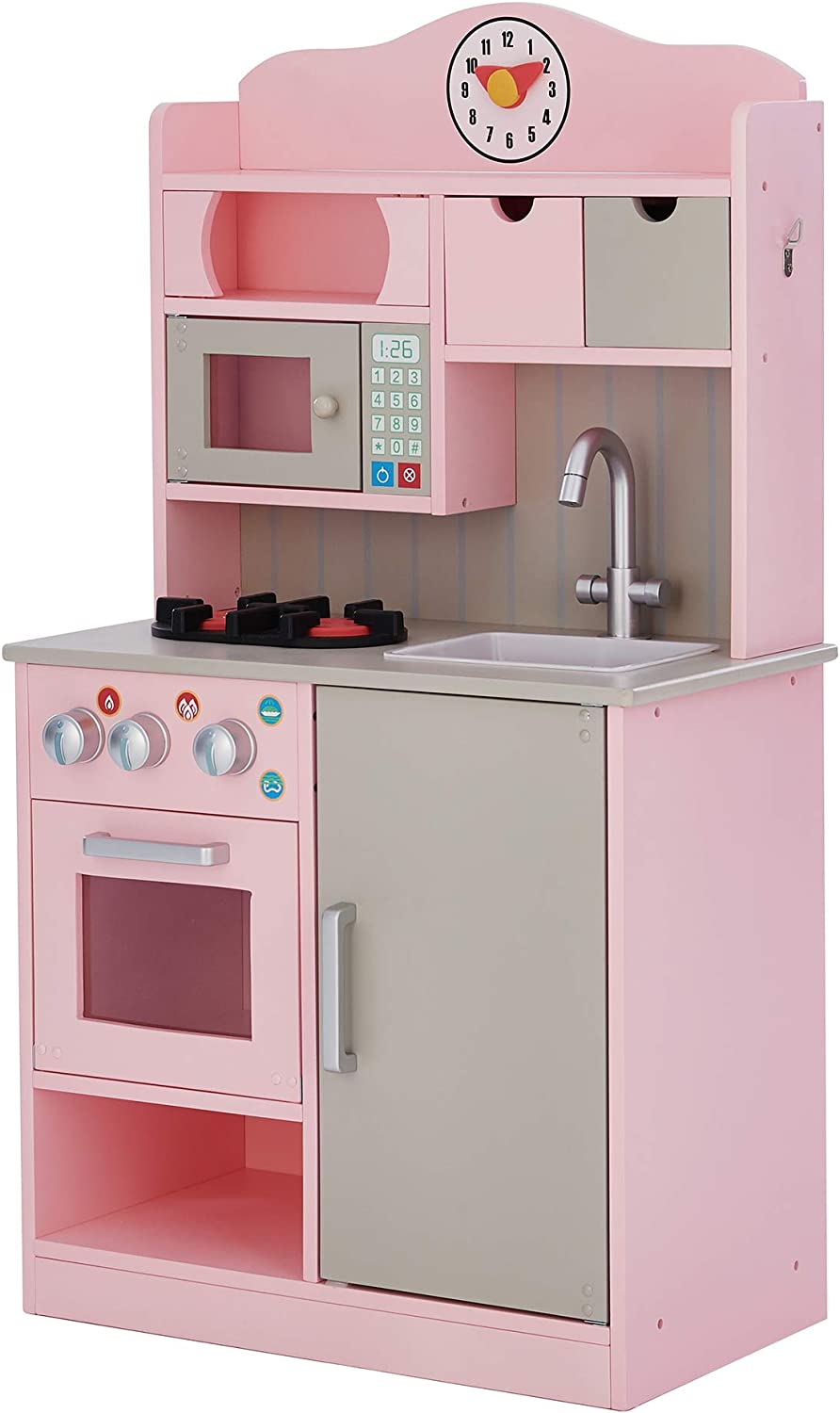 Teamson Kids Little Chef Florence Classic Play Kitchen Pink Grey ,TD 11708P