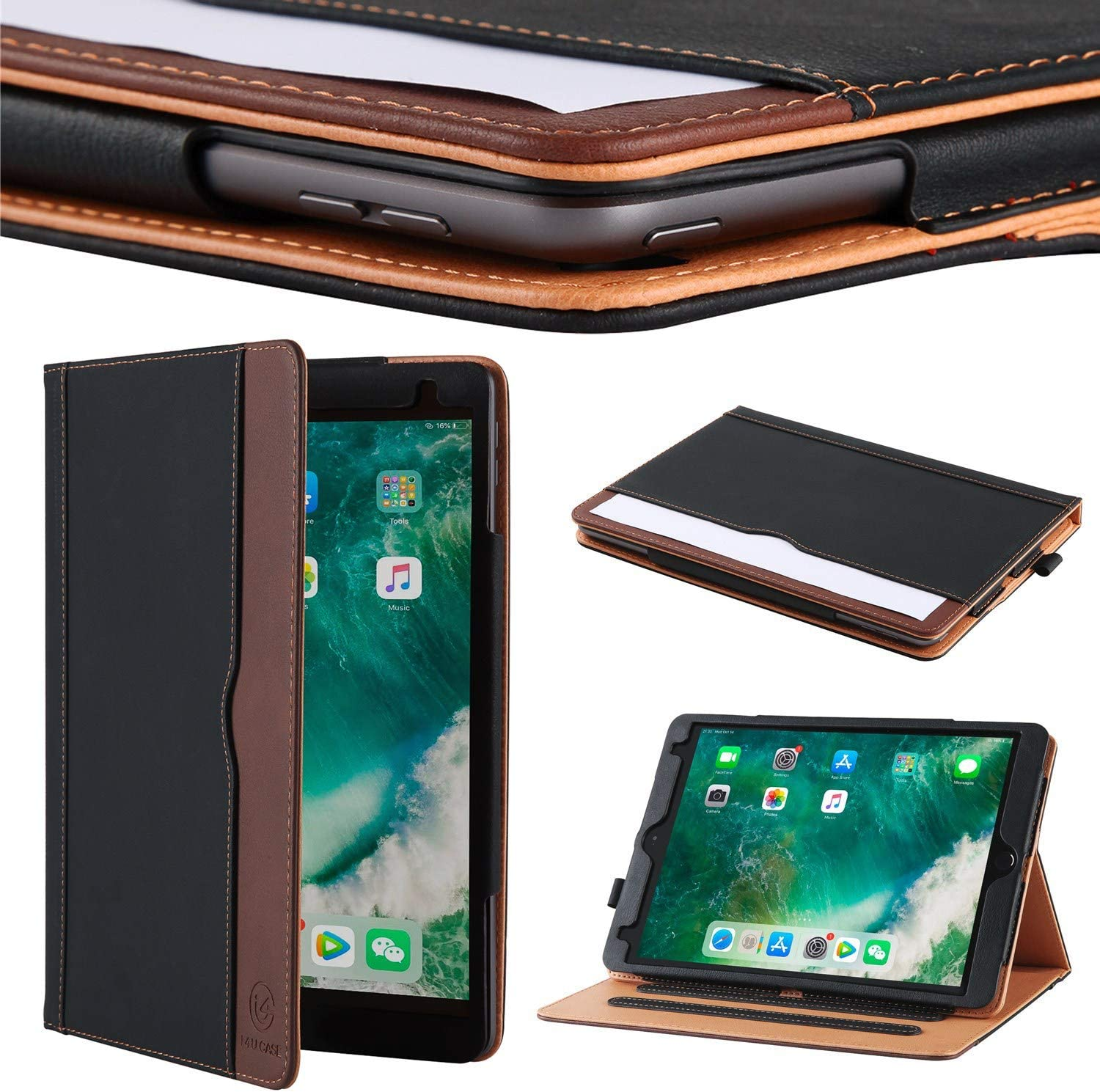 I4Ucase Apple iPad 10.2 Inch 2019/2020 (7th/8th Generation) Case Soft Leather Stand Folio Case Cover for iPad 10.2 Inch,Multiple Viewing Angles,Auto Sleep/Wake,Document Pocket (Black/Brown)