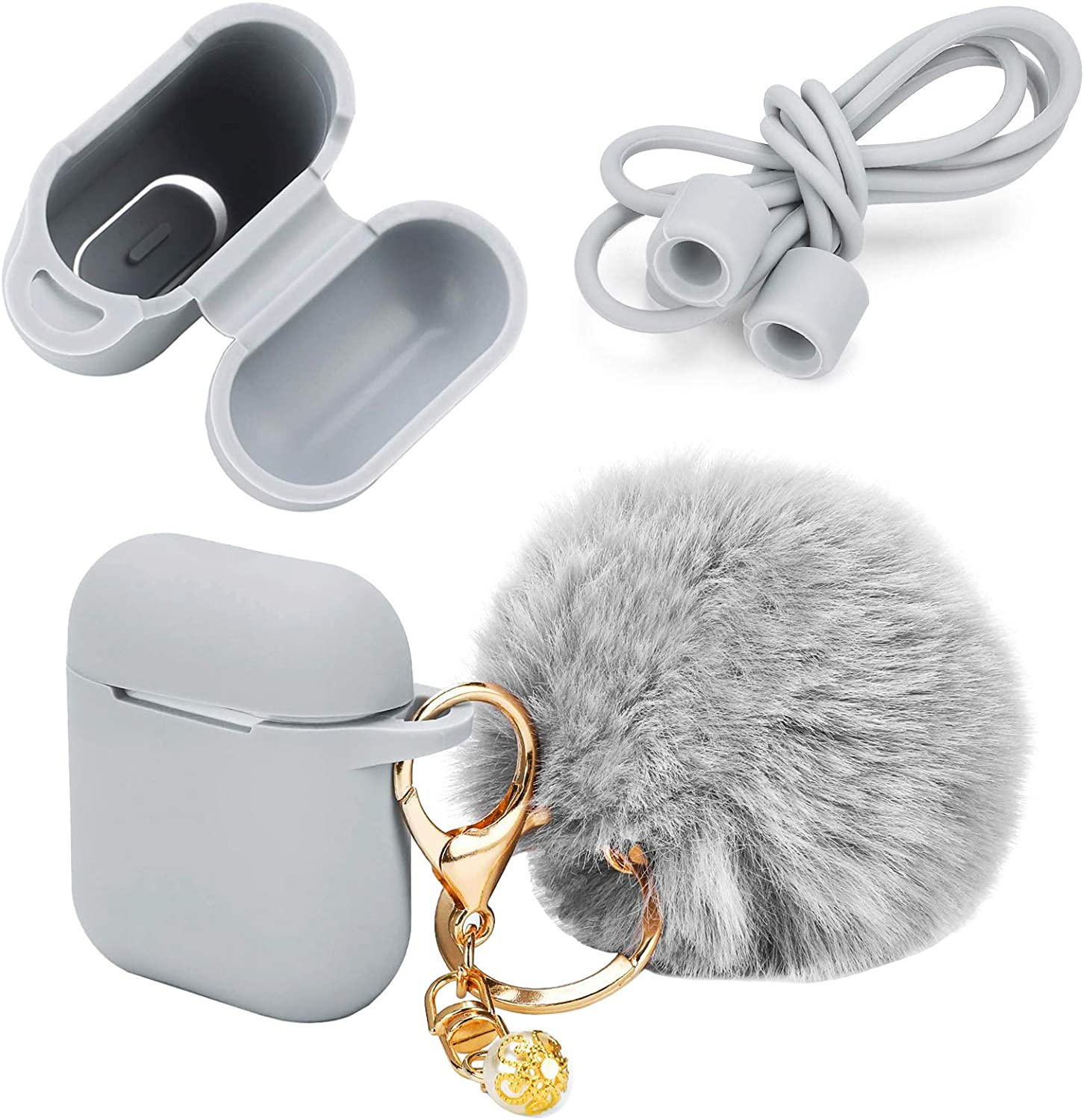 Earphone Silicone Case Cover Skin with Fur Ball Key Chain and Locking Carabiner Compatible for AirPods Charing Case - Silicone Hang Case Cover with Anti-Lost Strap as Headphone Accessories (Gray)