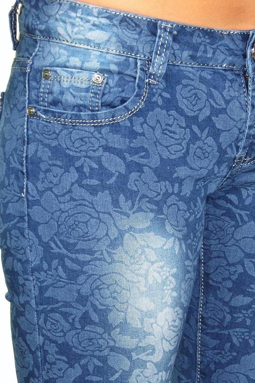 (1423) Womens Floral Pattern Skinny Jeans Faded Blue Stretch Denim