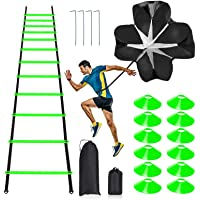 Pro Speed & Agility Training Set—Includes 12 Rung 20ft Adjustable Agility Ladder with Carrying Bag, 12 Disc Cones, 4…