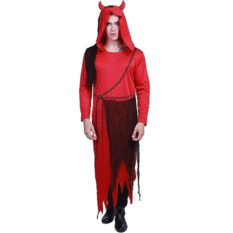 EraSpooky Disfraz de Diablo Rojo Adulto Traje de Gala Robe ...
