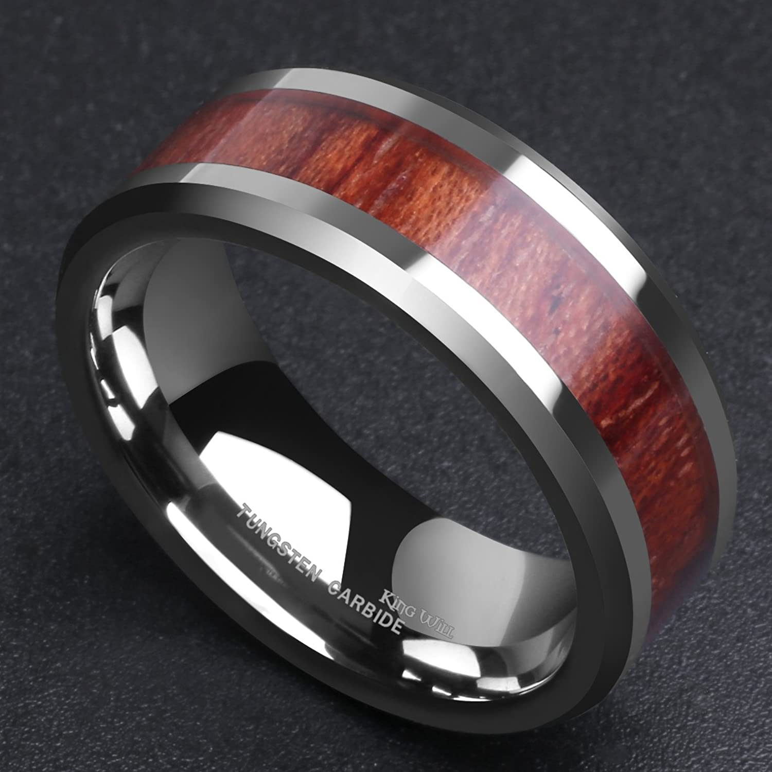 King Will NATURE 8mm Real Wood Tungsten Carbide Ring High Polished