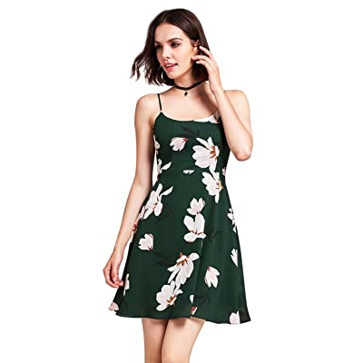 Alisapan Robe Courte Femme Haute Taille à Bretelles en Mousseline de Soie Floral Robe Femme à A-ligne Sans Manche AS05913