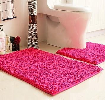 Elegant Ustide 2 Piece Hot Pink Bath Rug Set Pattern Chenille Bathroom Rug Toilet  Rug Set