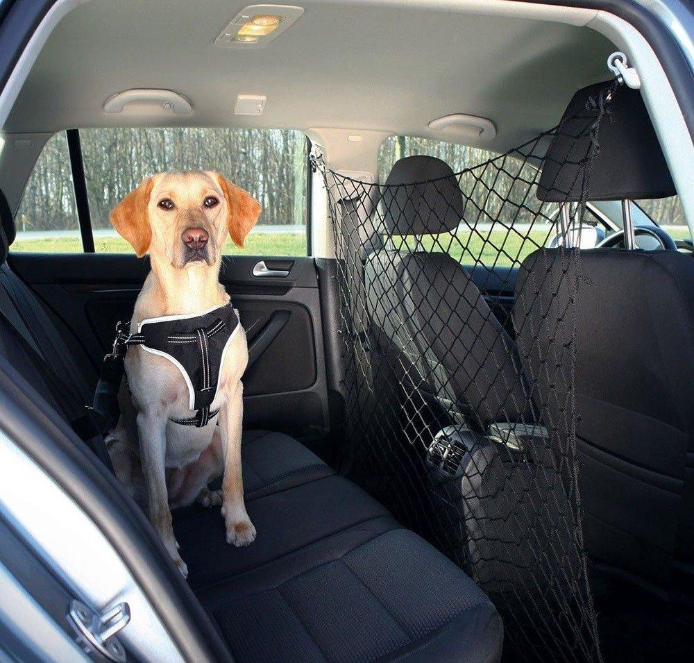 Vetrineinrete® Rete di protezione per auto per cani e gatti divisorio barriera universale con ganci da bagagliaio trasporto animali 136 x 99 cm 9001 G39 vetrine in rete