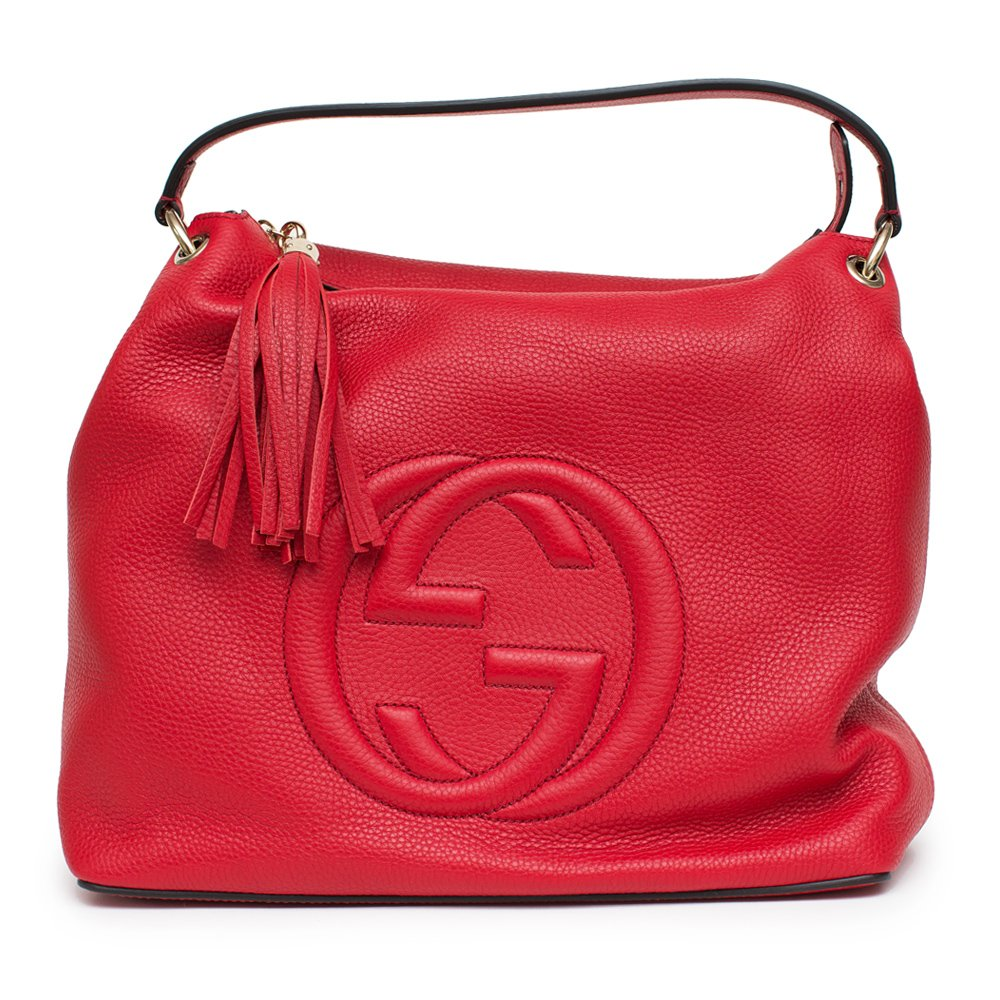 Gucci Soho Flame Red Leather Bag Soft Hobo Italy Handbag New by Gucci (Image #1)