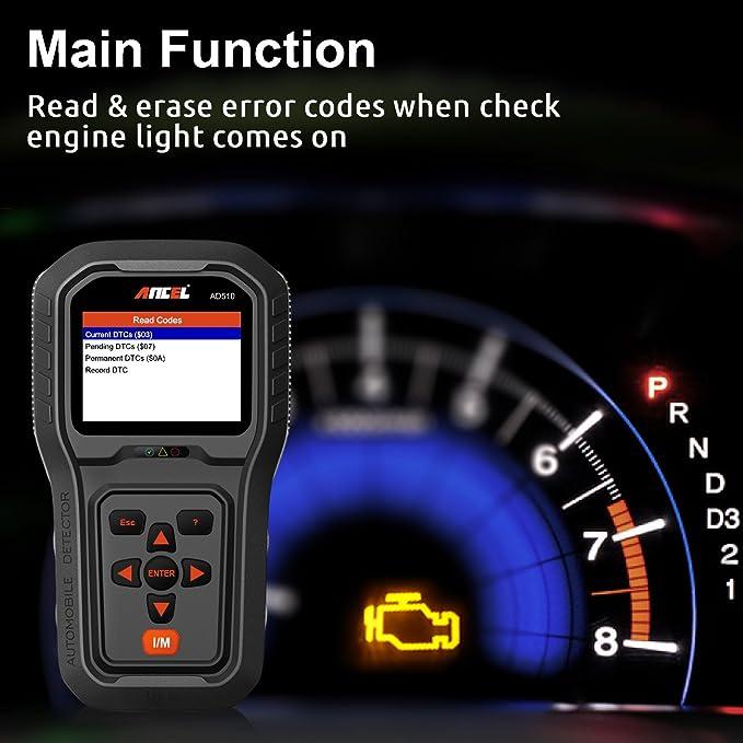 ANCEL AD510 Auto Car Diagnostic OBD 2 Scanner Motor Fault Code Reader  Automotive Diagnostic Scan Tool with Battery Detection - Black
